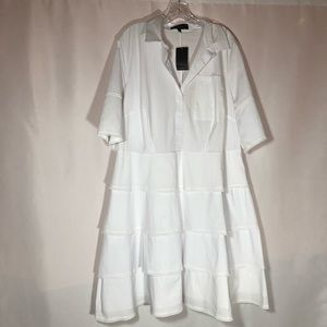 Eloquii White Ruffled Dress